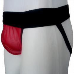 Cueca Jockstrap Bicolor Preto/Vermelho com Bojo Transparente Cuecas SexLord Underwear