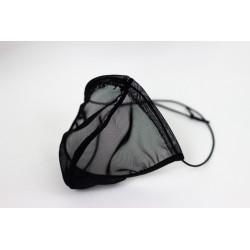 Cueca Fio Dental Transparente com Elástico Roliço em Tule Preto Ajustável e Respirável Cuecas SexLord Underwear