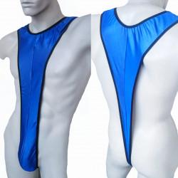 Cueca Strap Sexy Bodysuit com Suspensórios Fio Dental Cirre Azul Cuecas SexLord Underwear
