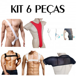 Kit 6 Peças Alça Ombro Thong Anel Escrotal bodystrap Fishnet Cuecas Sexlord Underwear